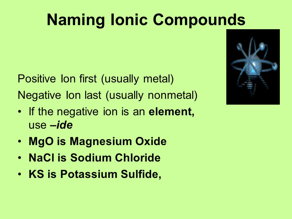 Naming Ionic Compounds Positive Ion first (usually metal) Negative Ion last (usually nonmetal) If the negative ion is an element, use –ide MgO is Magn