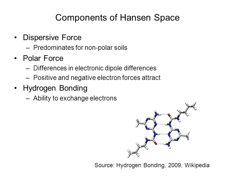 Components of Hansen Space Dispersive Force –Predominates for non-polar soils Polar Force –Differences in electronic dipole differences –Positive and