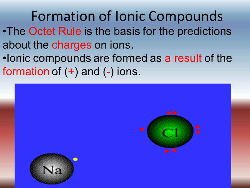 Formation of Ionic Compounds The Octet Rule is the basis for the predictions about the charges on ions. Ionic compounds are formed as a result of the