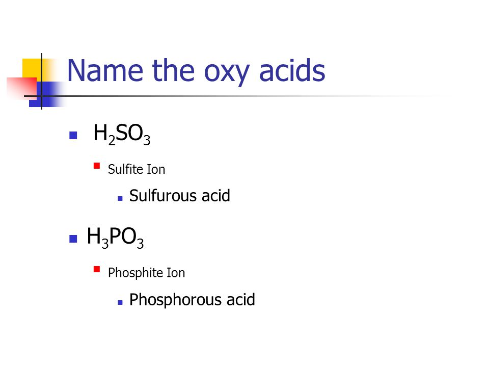 Oxy Acids ite The name of the acid comes from the name of the polyatomic ion.
