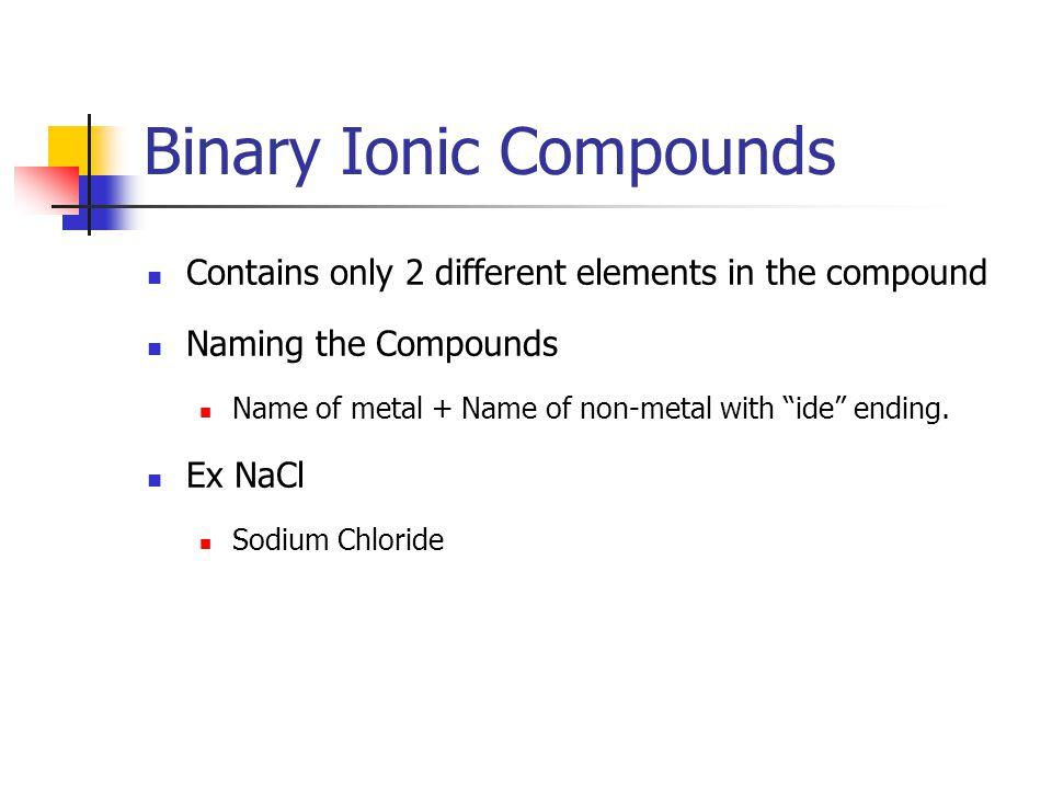 Binary Ionic Compounds Contains only 2 different elements in the compound Naming the Compounds Name of metal + Name of non-metal with ide ending.