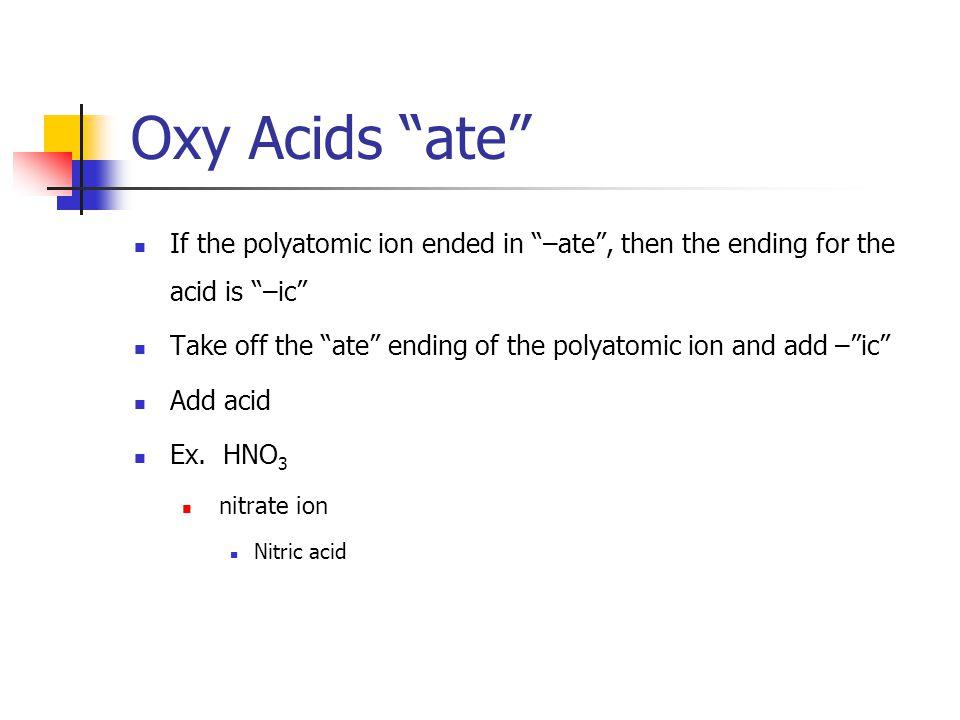 Name the oxy acids H 2 SO 3 Sulfite Ion Sulfurous acid H 3 PO 3 Phosphite Ion Phosphorous acid