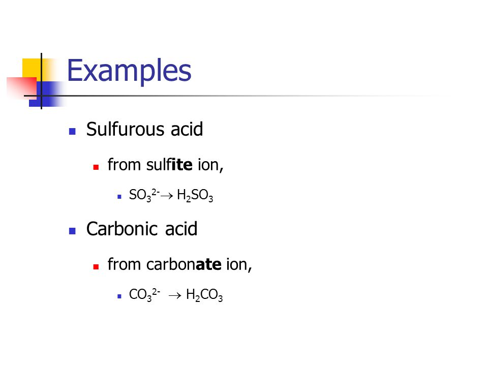 Example Chlorous acid from chlorite ion ClO 2 -  HClO 2 Boric acid From borate ion BO 3 3-  H 3 BO 3 Chloric acid from chlorate ion ClO 3 -  HClO 3