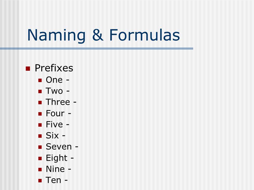 Naming & Formulas Prefixes One - Two - Three - Four - Five - Six - Seven - Eight - Nine - Ten -