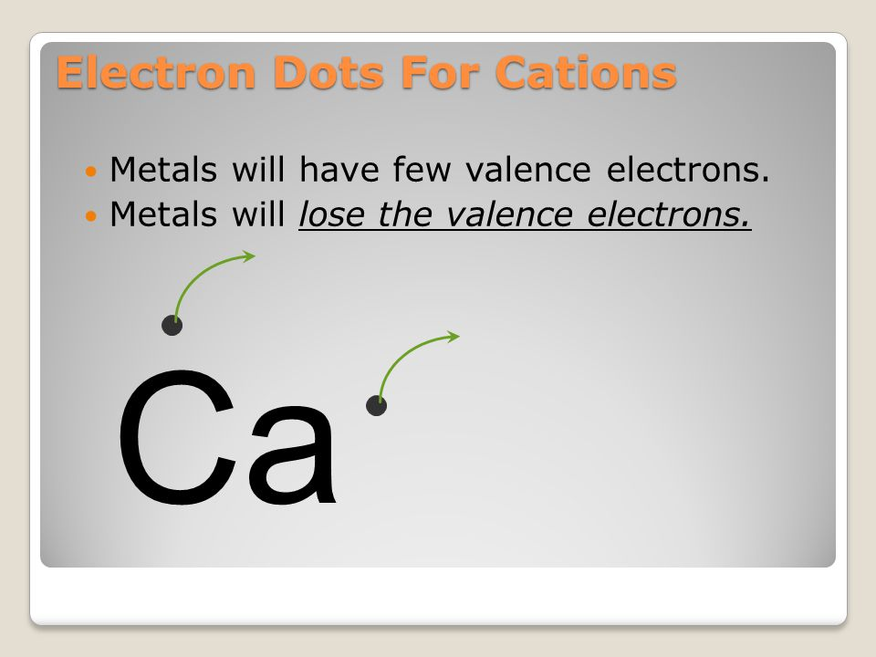 Electron Dots For Cations Metals will have few valence electrons (usually 3 or less). Ca Calcium has only 2 valence electrons.