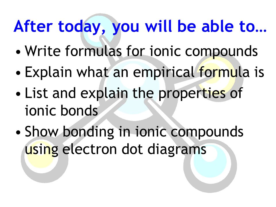 After today, you will be able to… Write formulas for ionic compounds Explain what an empirical formula is List and explain the properties of ionic bonds Show bonding in ionic compounds using electron dot diagrams