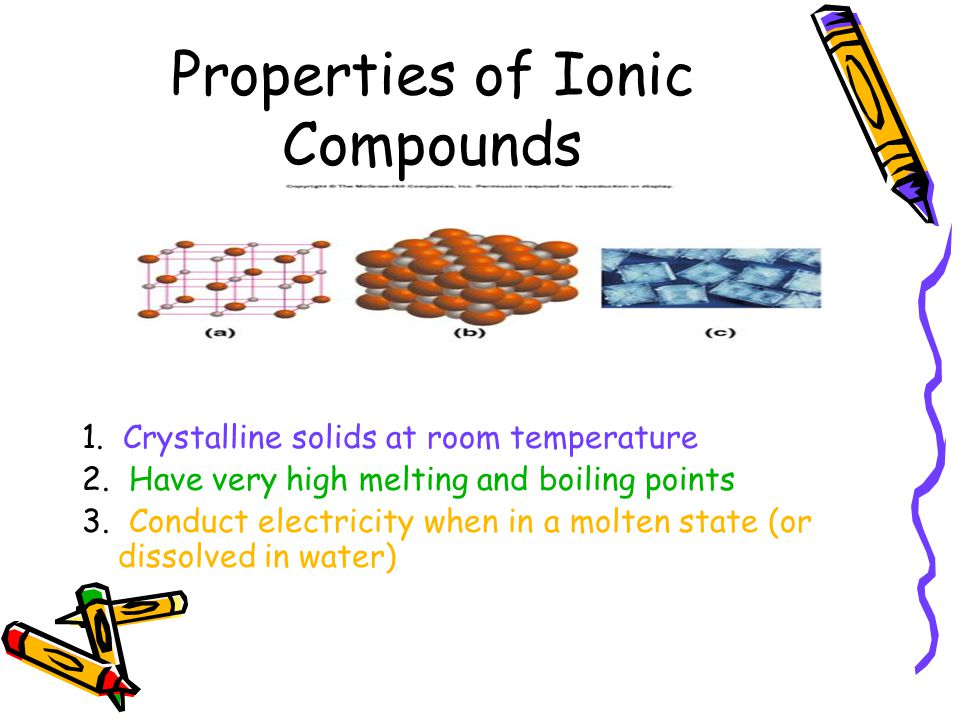 Ionic Compounds Electrostatic attraction between formula units create a stable structure Crystal Lattice - formula units, which repeat in a geometric pattern.