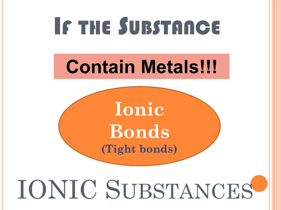 IONIC AND COVALENT S UBSTANCES Substances -Made of elements -Chemically bonded Affect the substances properties Metals/metalloids/nonmetal Ionic versus covalent