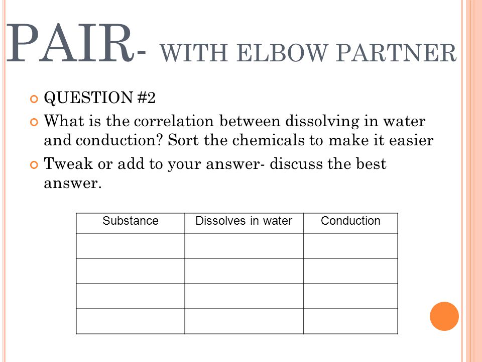PAIR - WITH ELBOW PARTNER QUESTION #2 What is the correlation between dissolving in water and conduction.