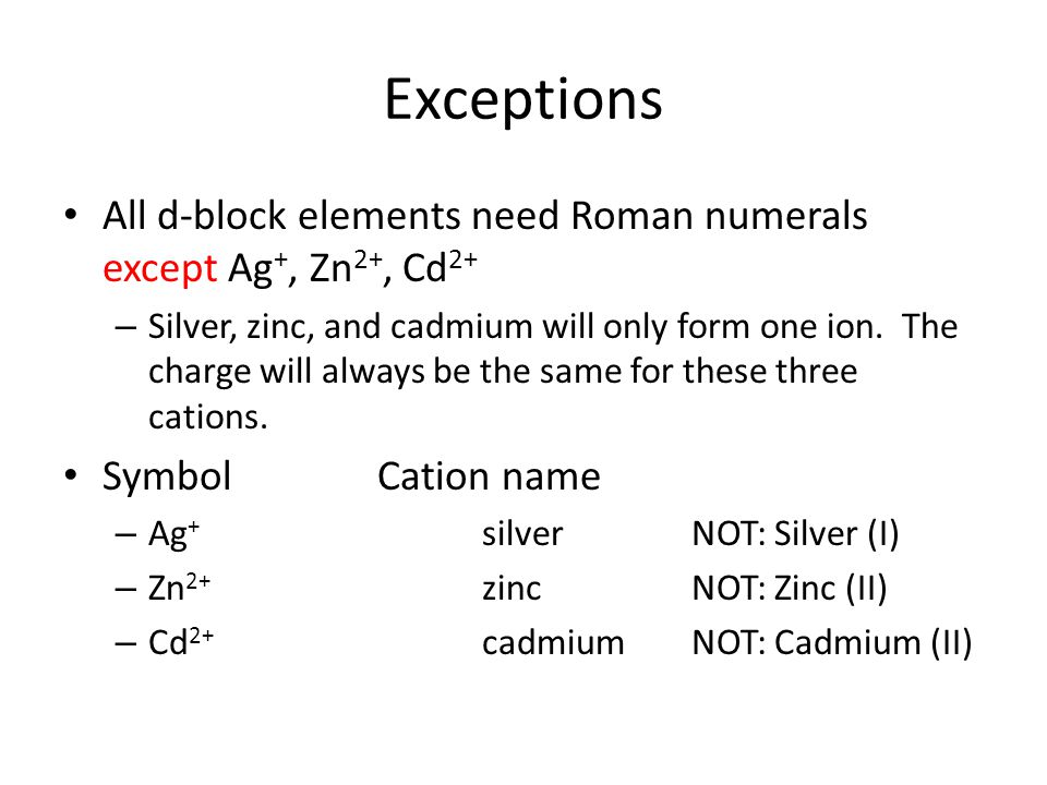 All d-block elements need Roman numerals except Ag +, Zn 2+, Cd 2+ – Silver, zinc, and cadmium will only form one ion. The charge will always be the s