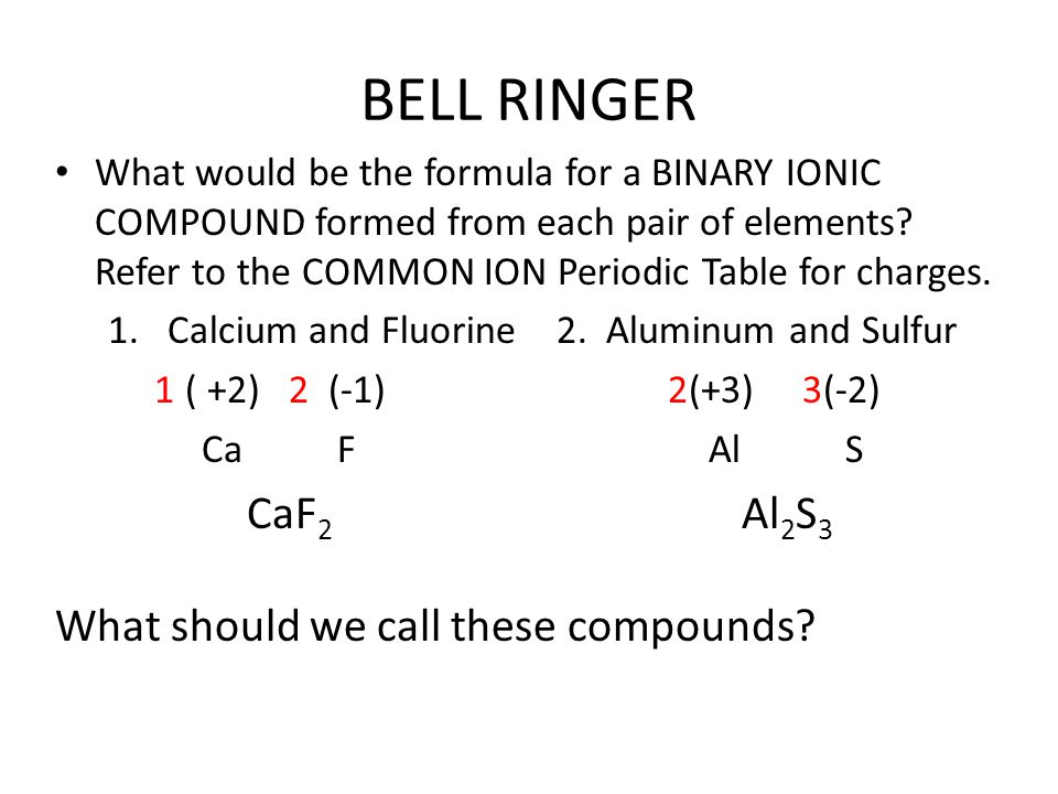BELL RINGER What would be the formula for a BINARY IONIC COMPOUND formed from each pair of elements? Refer to the COMMON ION Periodic Table for charge