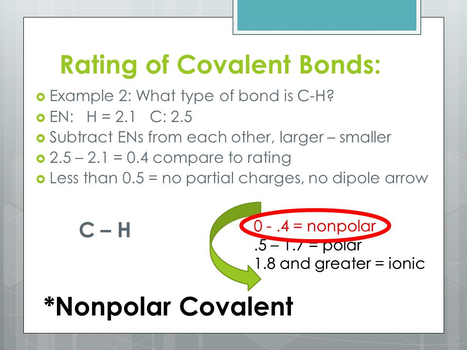 Rating of Covalent Bonds:  Example 2: What type of bond is C-H.