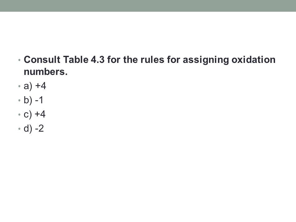 Consult Table 4.3 for the rules for assigning oxidation numbers. a) +4 b) -1 c) +4 d) -2