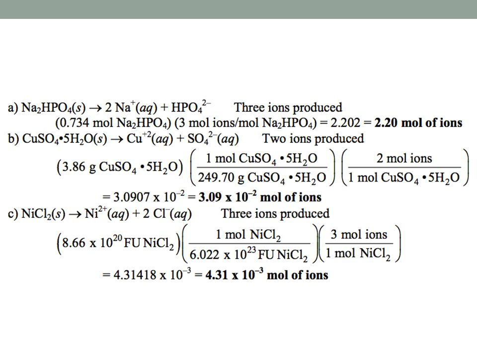 4.15 How many moles and numbers of ions of each type are present in the following aqueous solutions.