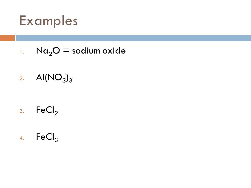 Examples 1. Na 2 O = sodium oxide 2. Al(NO 3 ) 3 3. FeCl 2 4. FeCl 3