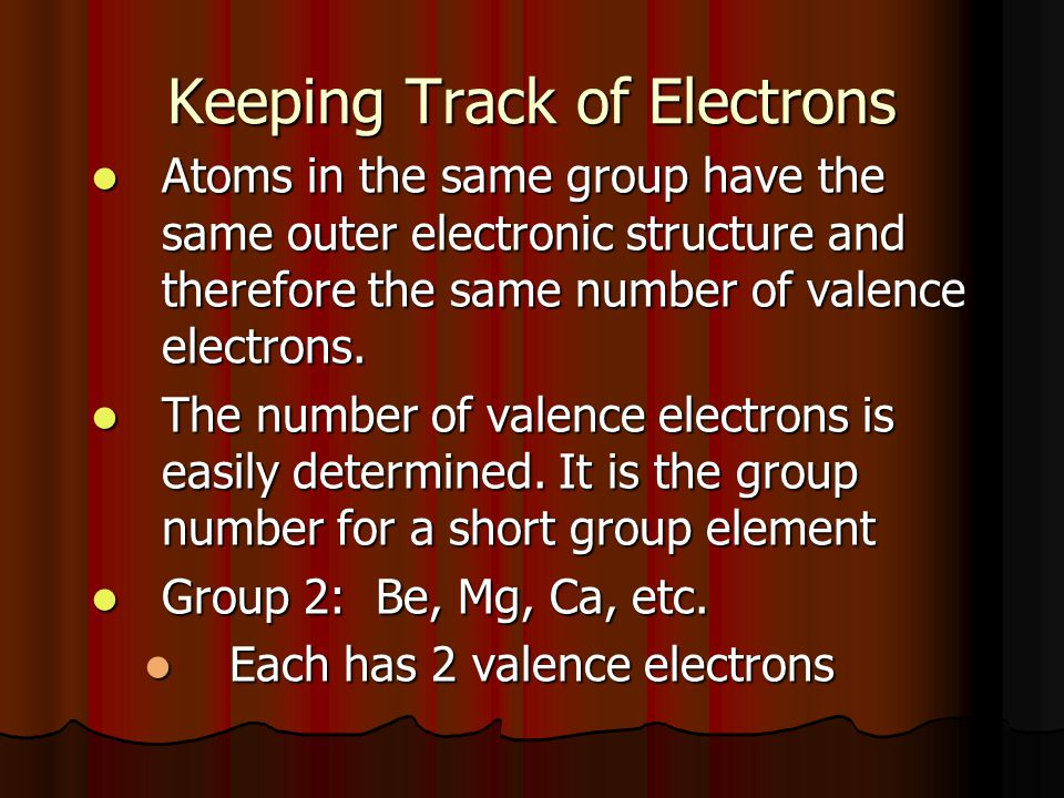 Electron Dot (Lewis Dot)diagrams A way of showing & keeping track of valence electrons.