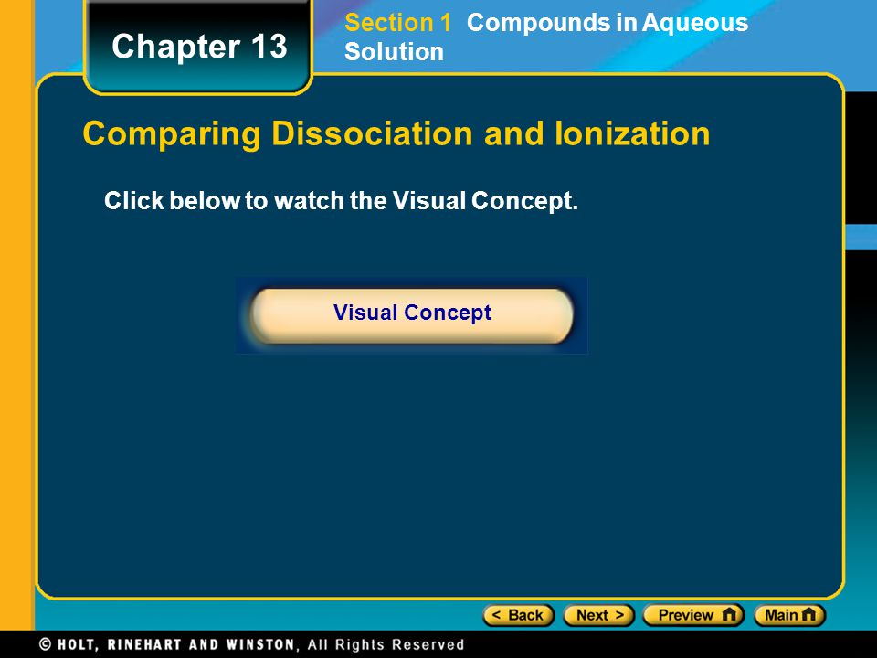 Click below to watch the Visual Concept. Visual Concept Chapter 13 Comparing Dissociation and Ionization Section 1 Compounds in Aqueous Solution