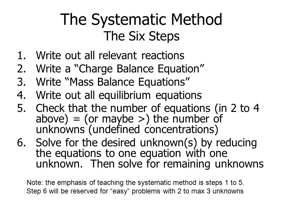 The Systematic Method The Six Steps 1.Write out all relevant reactions 2.Write a Charge Balance Equation 3.Write Mass Balance Equations 4.Write out all equilibrium equations 5.Check that the number of equations (in 2 to 4 above) = (or maybe >) the number of unknowns (undefined concentrations) 6.Solve for the desired unknown(s) by reducing the equations to one equation with one unknown.
