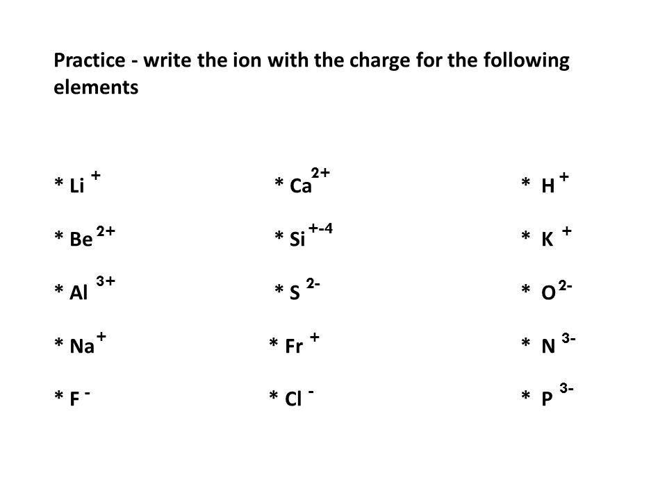 Practice - write the ion with the charge for the following elements * Li * Ca* H * Be * Si* K * Al * S* O * Na * Fr* N * F * Cl* P + 2+ 3+ + - 2+ + +-4 + + 3- 2- - 3-
