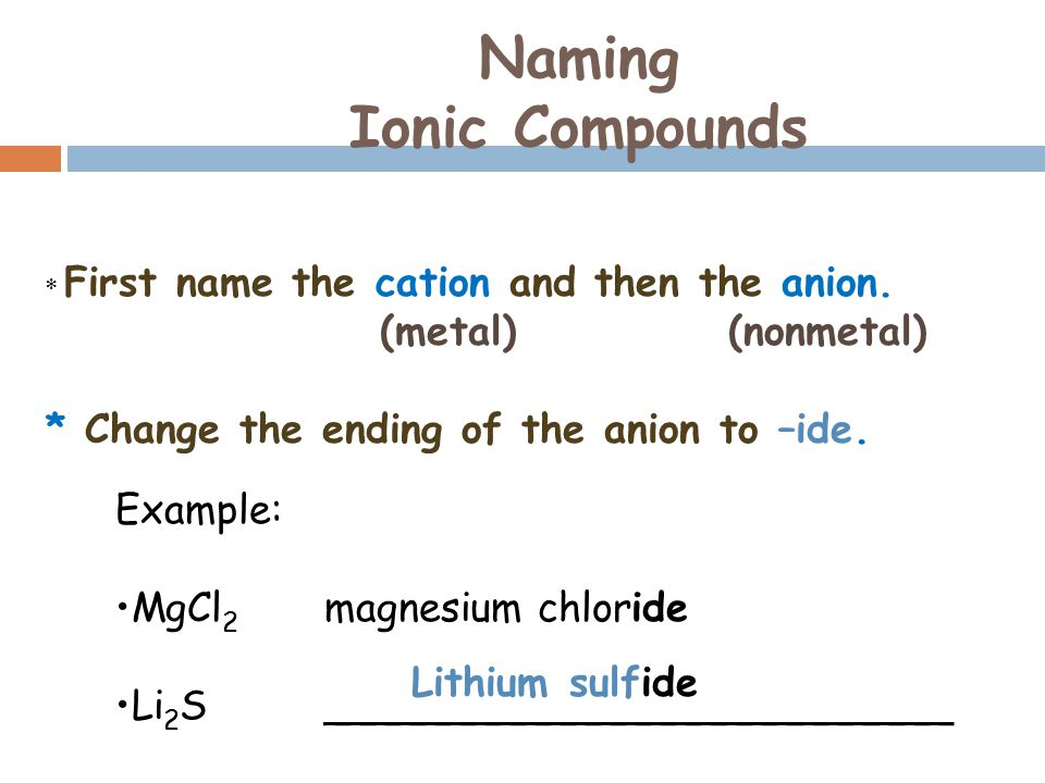 Naming Ionic Compounds * First name the cation and then the anion.