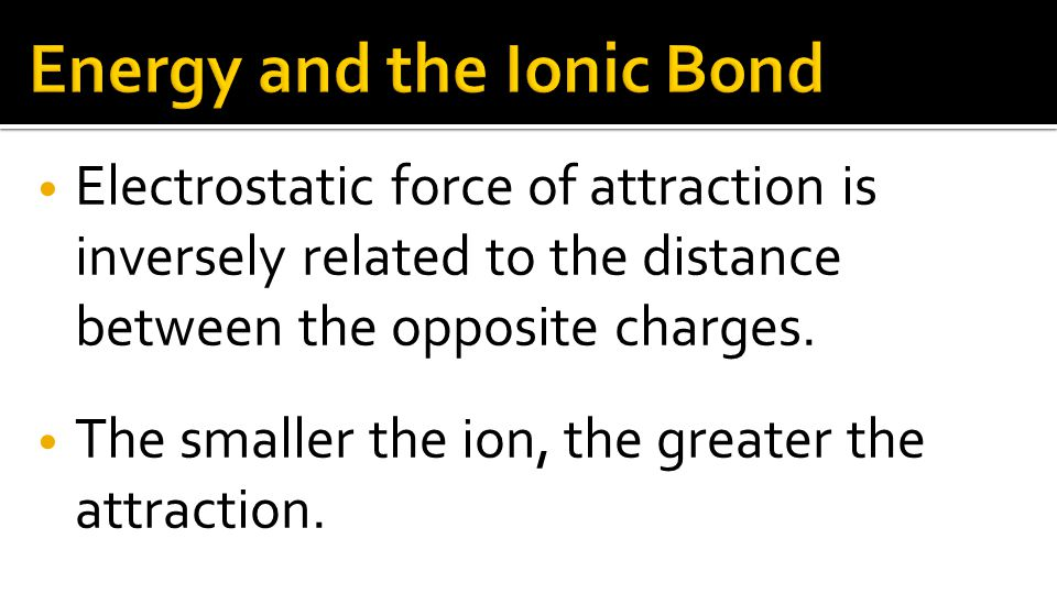 Electrostatic force of attraction is inversely related to the distance between the opposite charges.