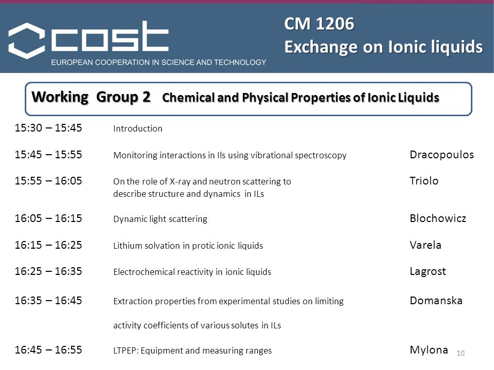 10 CM 1206 Exchange on Ionic liquids Working Group 2 Chemical and Physical Properties of Ionic Liquids 15:30 – 15:45 Introduction 15:45 – 15:55 Monitoring interactions in Ils using vibrational spectroscopy Dracopoulos 15:55 – 16:05 On the role of X-ray and neutron scattering to Triolo describe structure and dynamics in ILs 16:05 – 16:15 Dynamic light scattering Blochowicz 16:15 – 16:25 Lithium solvation in protic ionic liquids Varela 16:25 – 16:35 Electrochemical reactivity in ionic liquids Lagrost 16:35 – 16:45 Extraction properties from experimental studies on limiting Domanska activity coefficients of various solutes in ILs 16:45 – 16:55 LTPEP: Equipment and measuring ranges Mylona