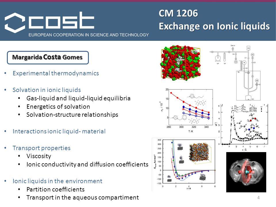 CM 1206 Exchange on Ionic liquids Margarida Costa Gomes Experimental thermodynamics Solvation in ionic liquids Gas-liquid and liquid-liquid equilibria