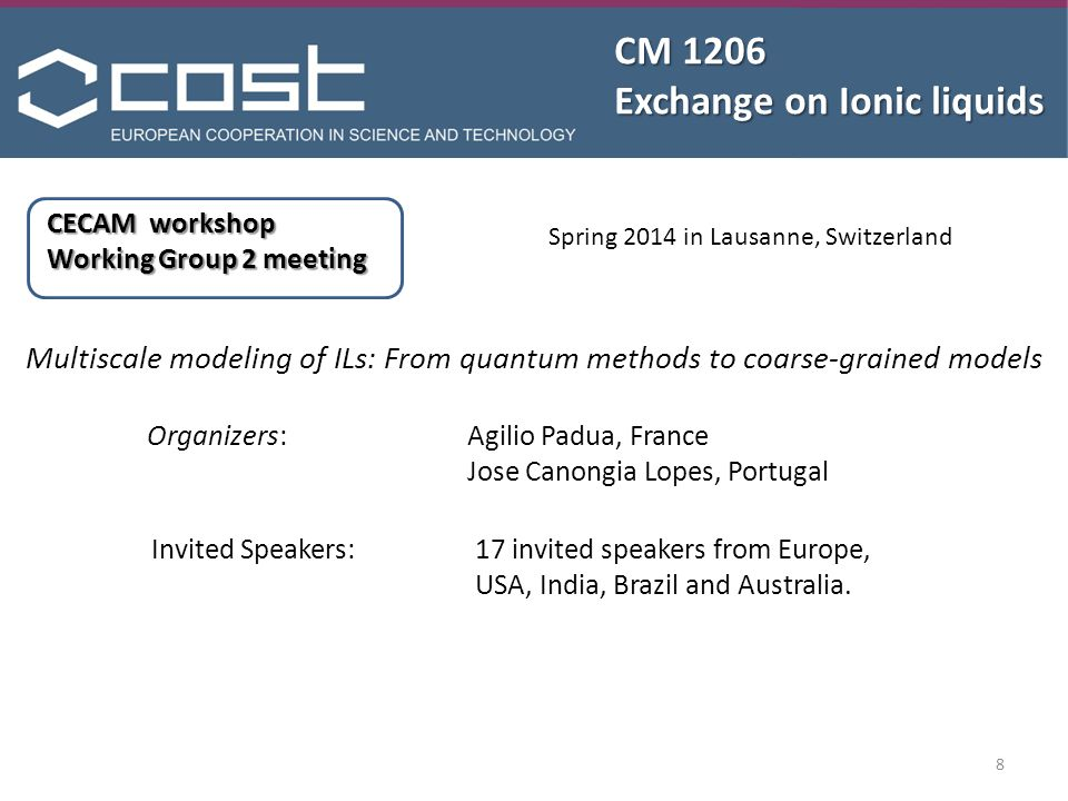 CM 1206 Exchange on Ionic liquids CECAM workshop Working Group 2 meeting Multiscale modeling of ILs: From quantum methods to coarse-grained models Spring 2014 in Lausanne, Switzerland 8 Organizers: Agilio Padua, France Jose Canongia Lopes, Portugal Invited Speakers:17 invited speakers from Europe, USA, India, Brazil and Australia.