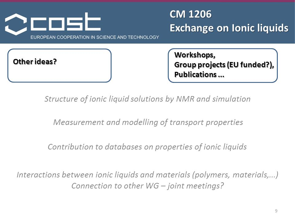 CM 1206 Exchange on Ionic liquids Other ideas.