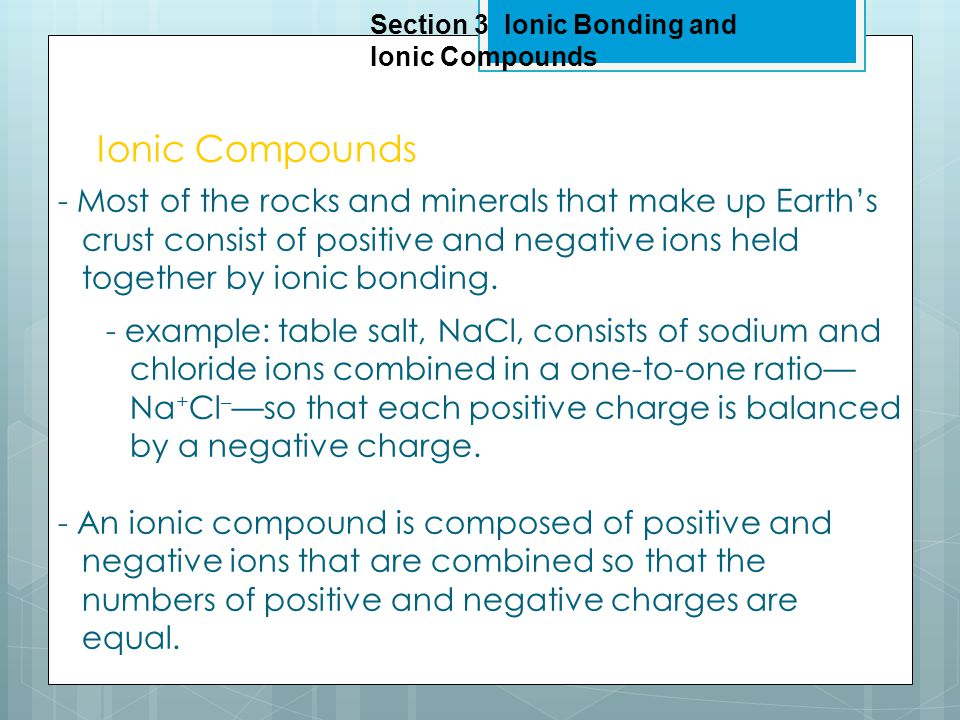 Objectives - Compare a chemical formula for a molecular compounds with one for an ionic compound.