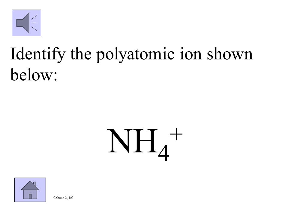 Column 2, 300 Write the formula and charge for the following polyatomic ion: sulfite
