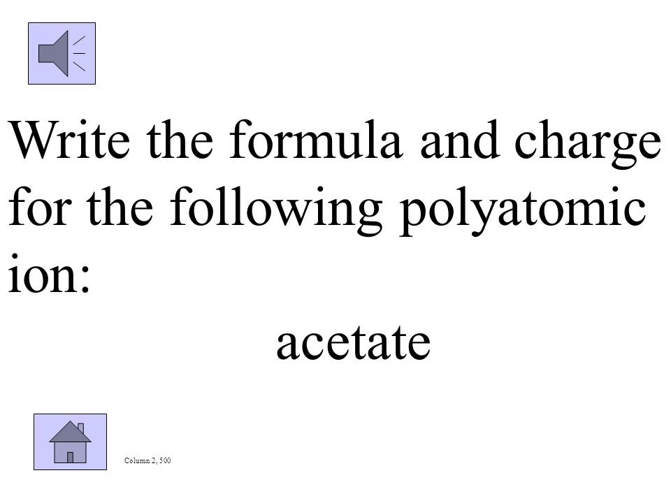 Column 2, 400 Identify the polyatomic ion shown below: NH 4 +