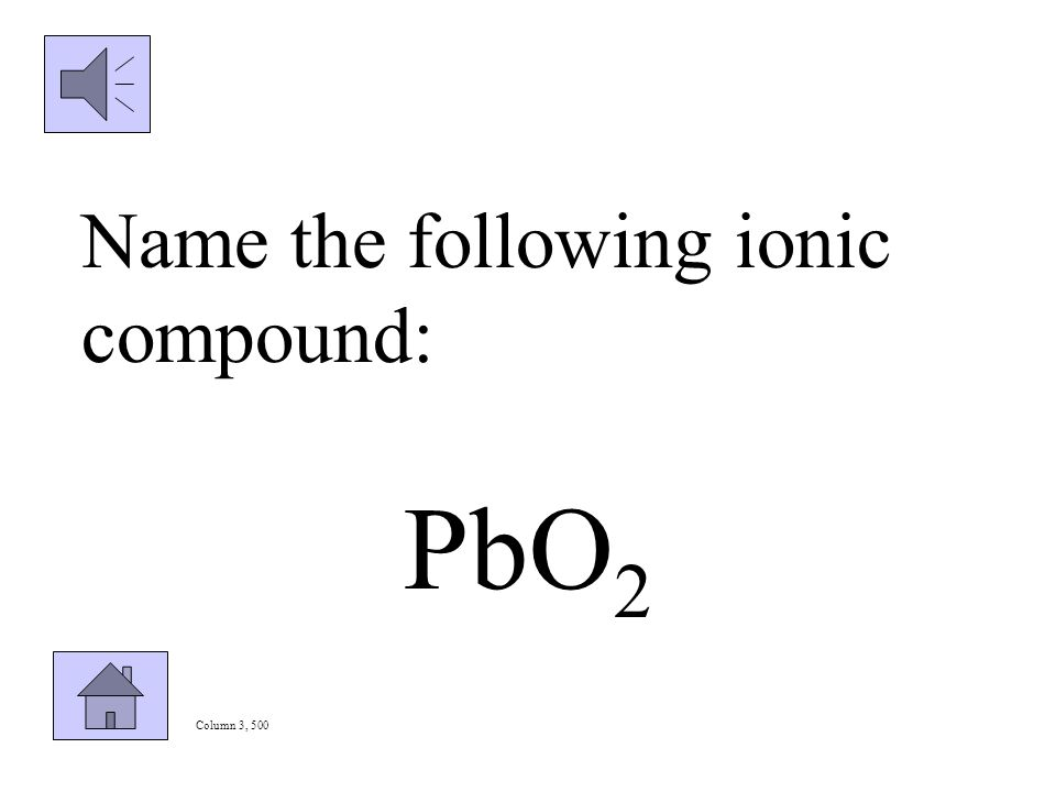 Column 3, 400 Write the formula for iron (III) sulfate.
