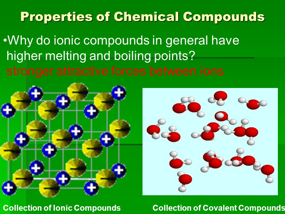 Properties of Chemical Compounds Collection of Ionic Compounds Collection of Covalent Compounds Why do ionic compounds in general have higher melting