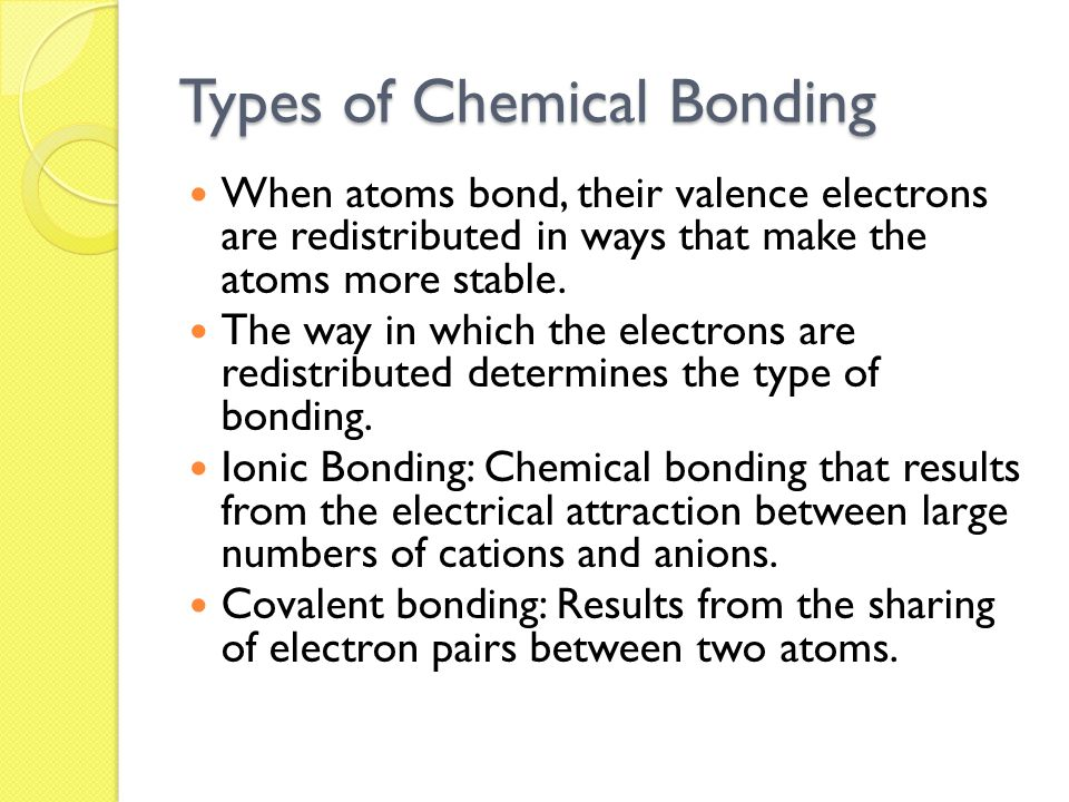 Types of Chemical Bonding When atoms bond, their valence electrons are redistributed in ways that make the atoms more stable.