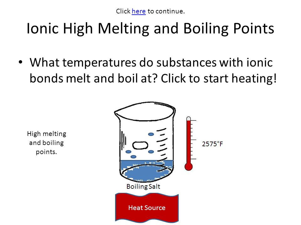 Ionic High Melting and Boiling Points What temperatures do substances with ionic bonds melt and boil at? Click to start heating! Heat Source Click her