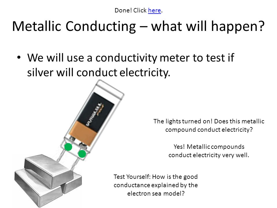 Metallic Conducting – what will happen? We will use a conductivity meter to test if silver will conduct electricity. The lights turned on! Does this m