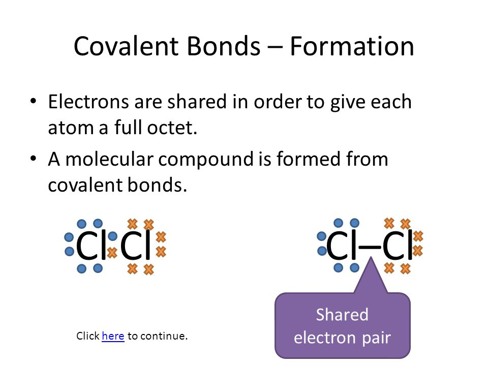Covalent Bonds – Formation Polar Bonds One element is more electronegative than the other; pulls electrons harder; unequal sharing Nonpolar Bonds Elements have similar or the same electronegativity; electrons are shared equally.