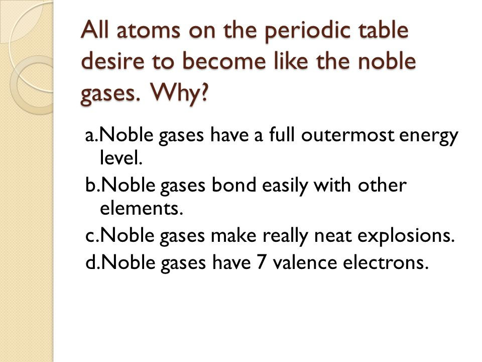 All atoms on the periodic table desire to become like the noble gases.