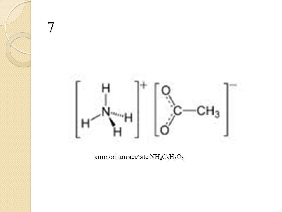 7 ammonium acetate NH 4 C 2 H 3 O 2
