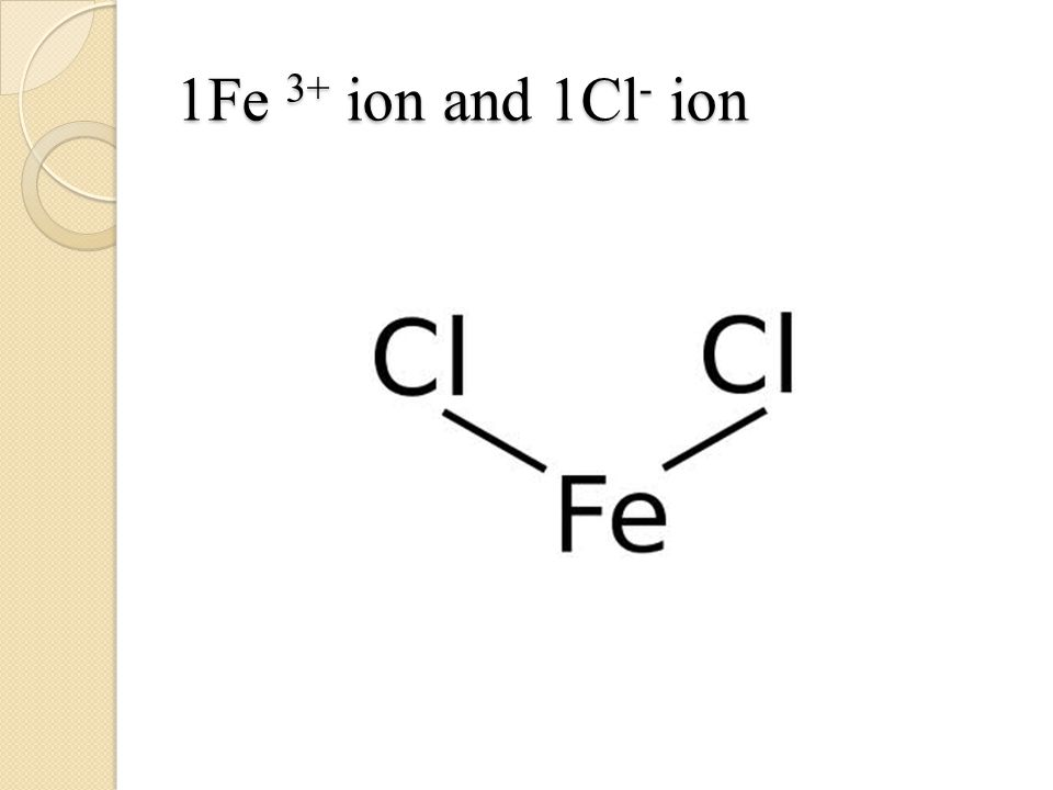 1Fe 3+ ion and 1Cl - ion