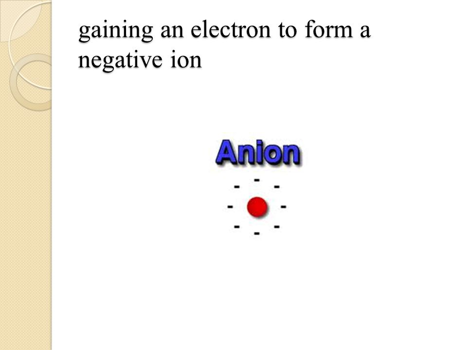 gaining an electron to form a negative ion