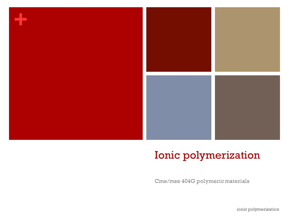 + Ionic polymerization Cme/mse 404G polymeric materials ionic polymerization
