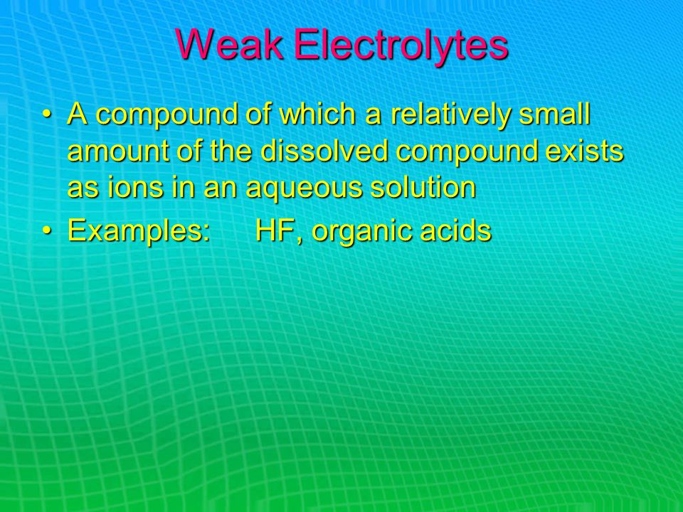 Weak Electrolytes A compound of which a relatively small amount of the dissolved compound exists as ions in an aqueous solutionA compound of which a relatively small amount of the dissolved compound exists as ions in an aqueous solution Examples: HF, organic acidsExamples: HF, organic acids