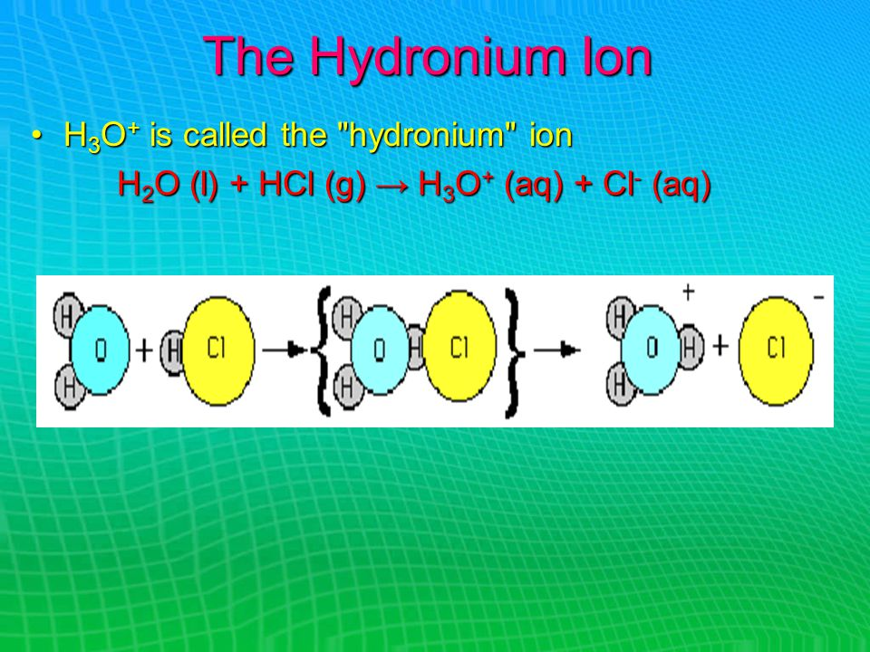 The Hydronium Ion H 3 O + is called the hydronium ionH 3 O + is called the hydronium ion H 2 O (l) + HCl (g) → H 3 O + (aq) + Cl - (aq)