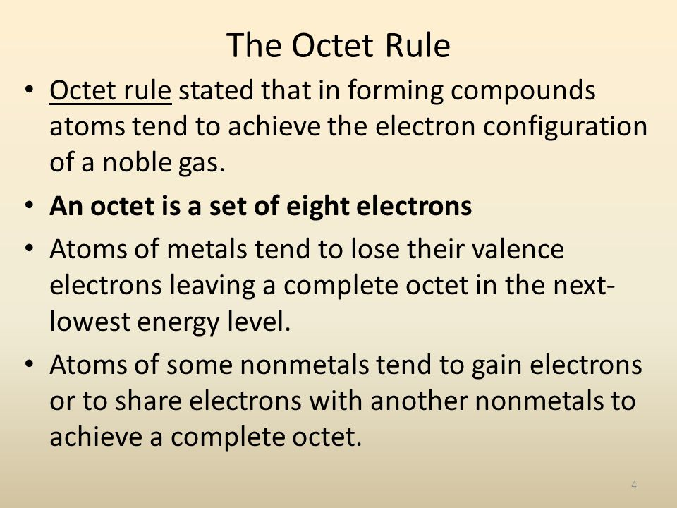 The Octet Rule Octet rule stated that in forming compounds atoms tend to achieve the electron configuration of a noble gas.