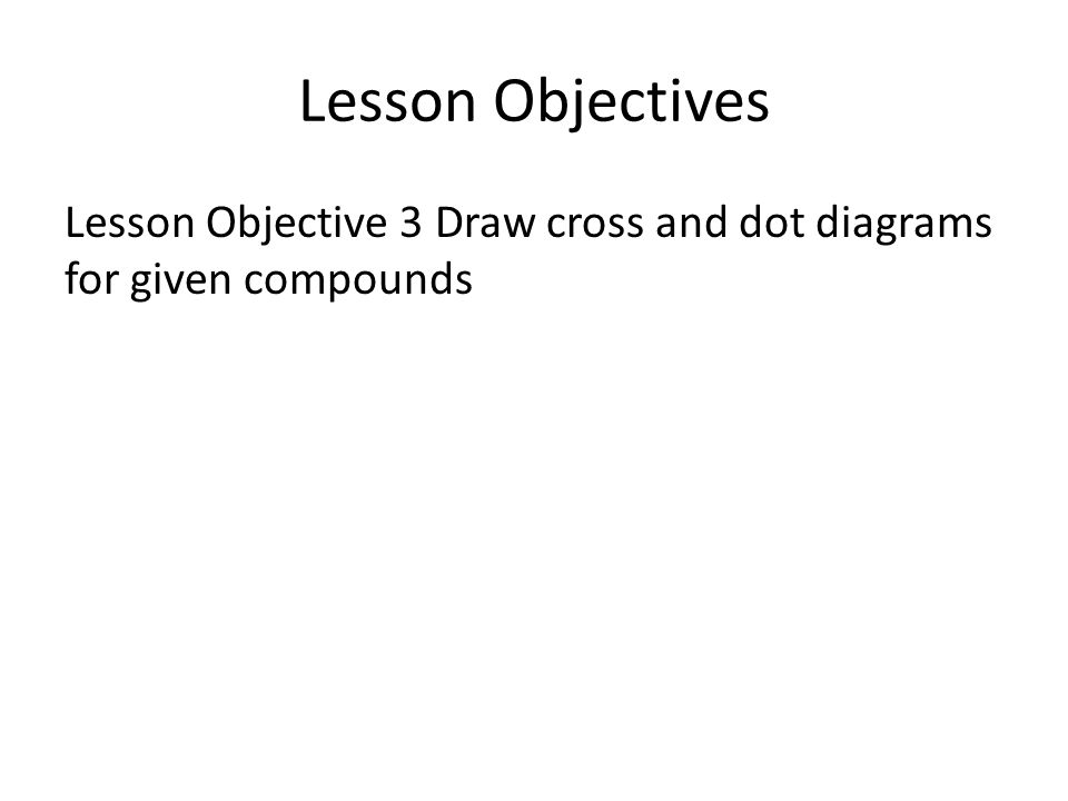 Lesson Objectives Lesson Objective 3 Draw cross and dot diagrams for given compounds