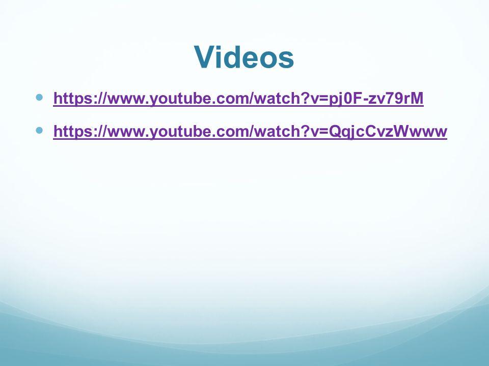 Videos https://www.youtube.com/watch?v=pj0F-zv79rM https://www.youtube.com/watch?v=QqjcCvzWwww