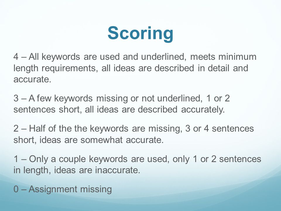Scoring 4 – All keywords are used and underlined, meets minimum length requirements, all ideas are described in detail and accurate. 3 – A few keyword