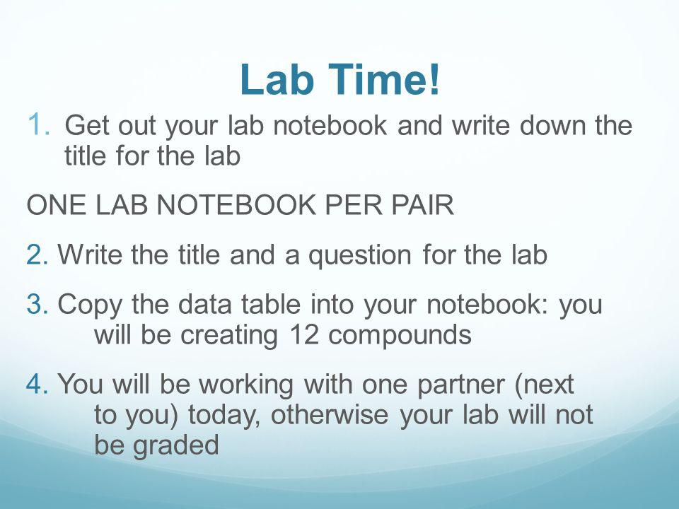 Lab Time. 1.